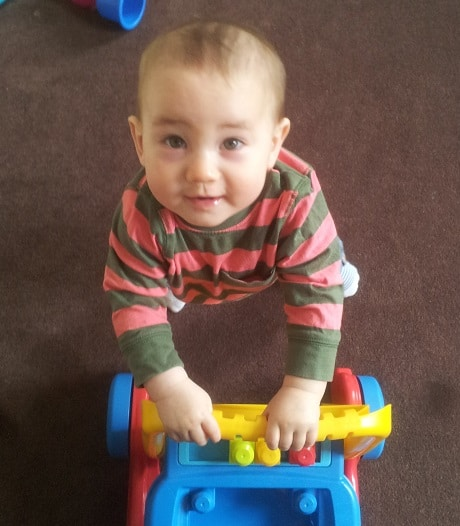 Riding out to the line on his walker..!