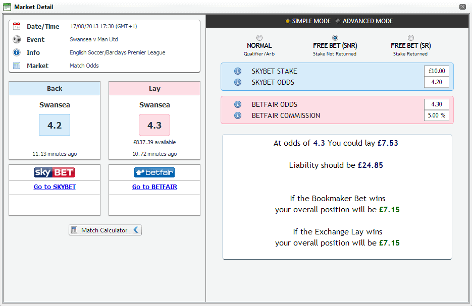 SkyBet Matched Bet Calculator
