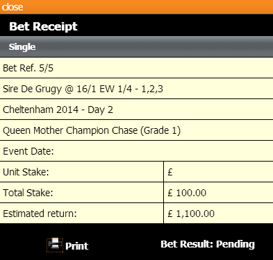 A nice looking voucher, but will Sire de Grugy win?