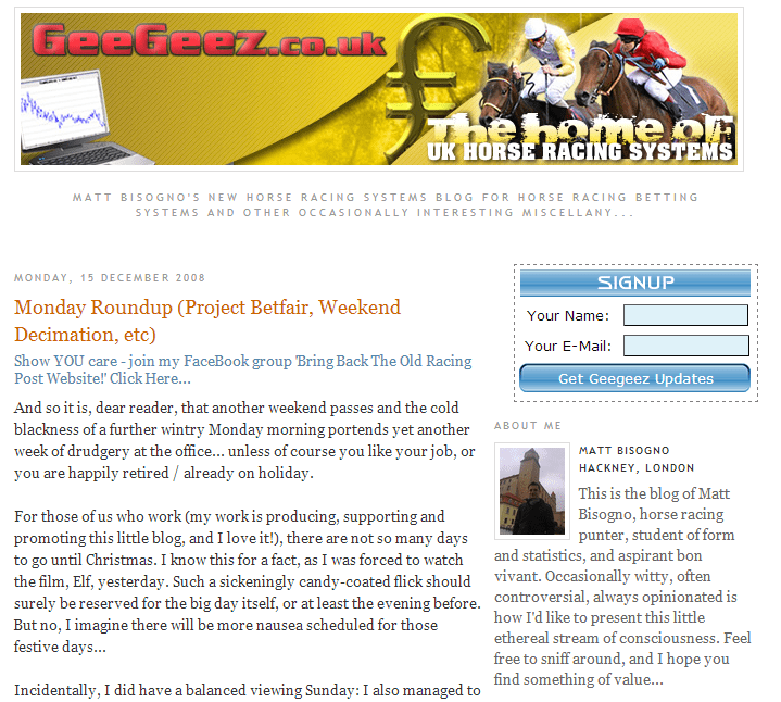 The original geegeez.co.uk layout, with a YELLOW banner!