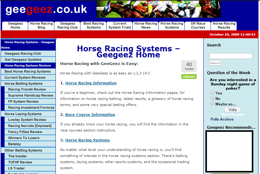 Information hub: geegeez.co.uk circa October 2009