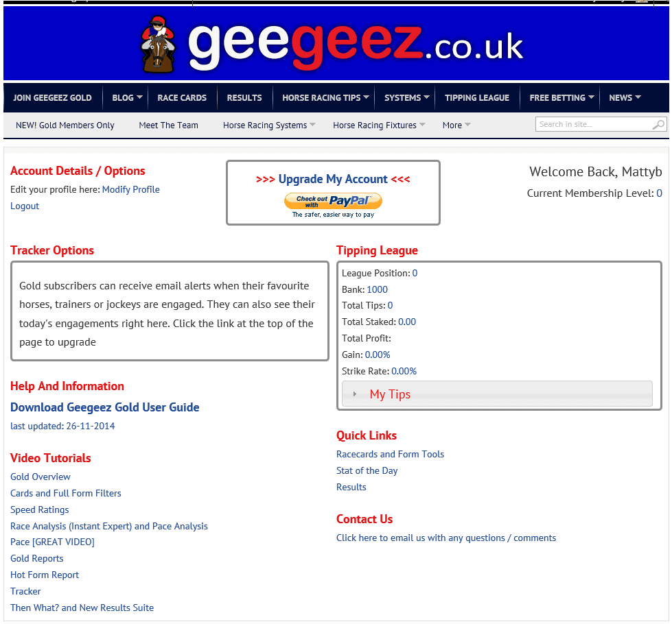 The new My Geegeez page for free registered members