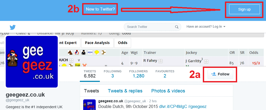 How to follow @geegeez_uk on twitter
