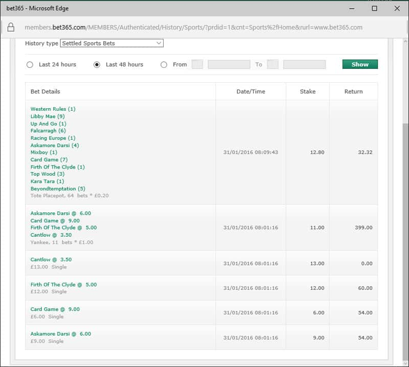 Bet365 - Sunday Profits