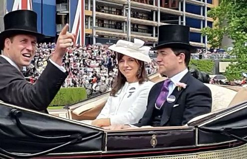 Prince William acknowledges a fellow Villa fan at Royal Ascot 2016