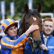Churchill and Ryan Moore after winning The Dubai Dewhurst Stakes Newmarket 8.10.16 Photo HEALY RACING.