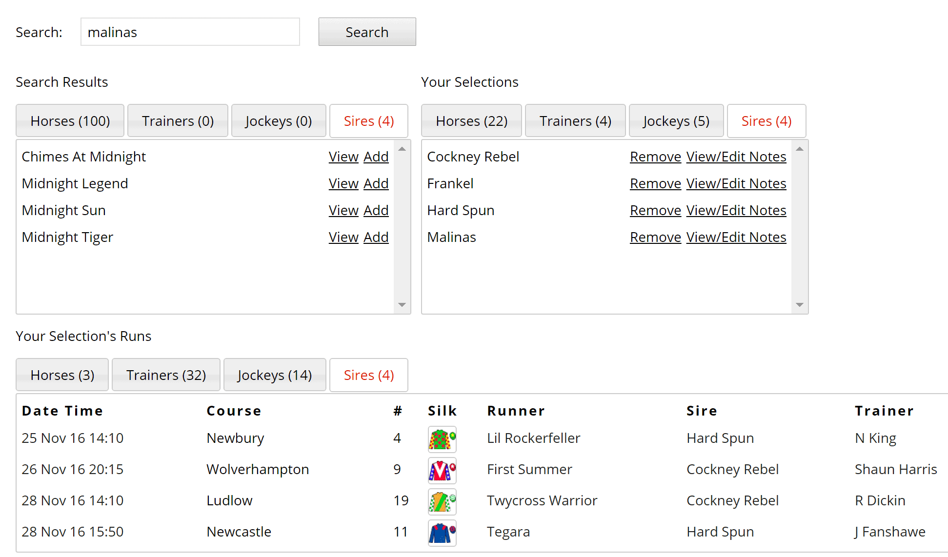 Track the progeny of your favourite sires using Geegeez Tracker