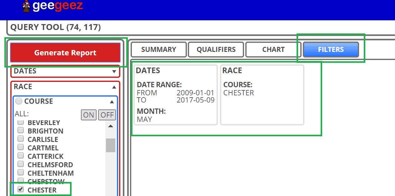 Specifying Chester's May meeting in geegeez's Query Tool