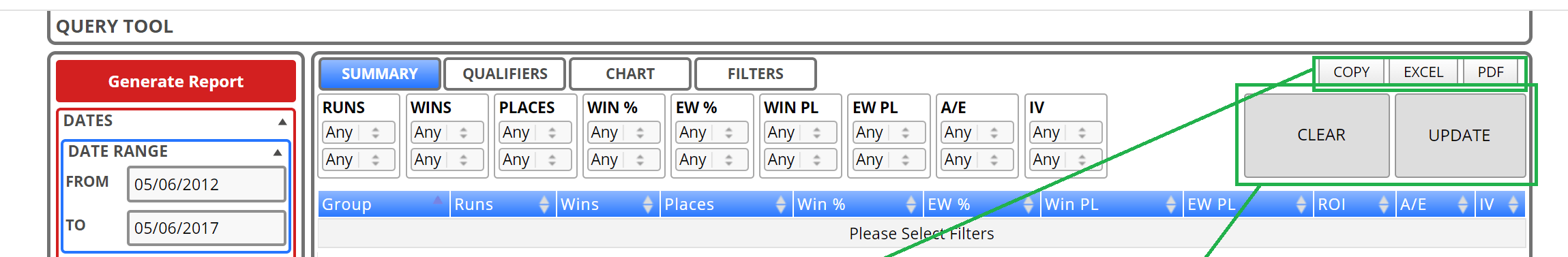 Filtering Query Tool results is now possible