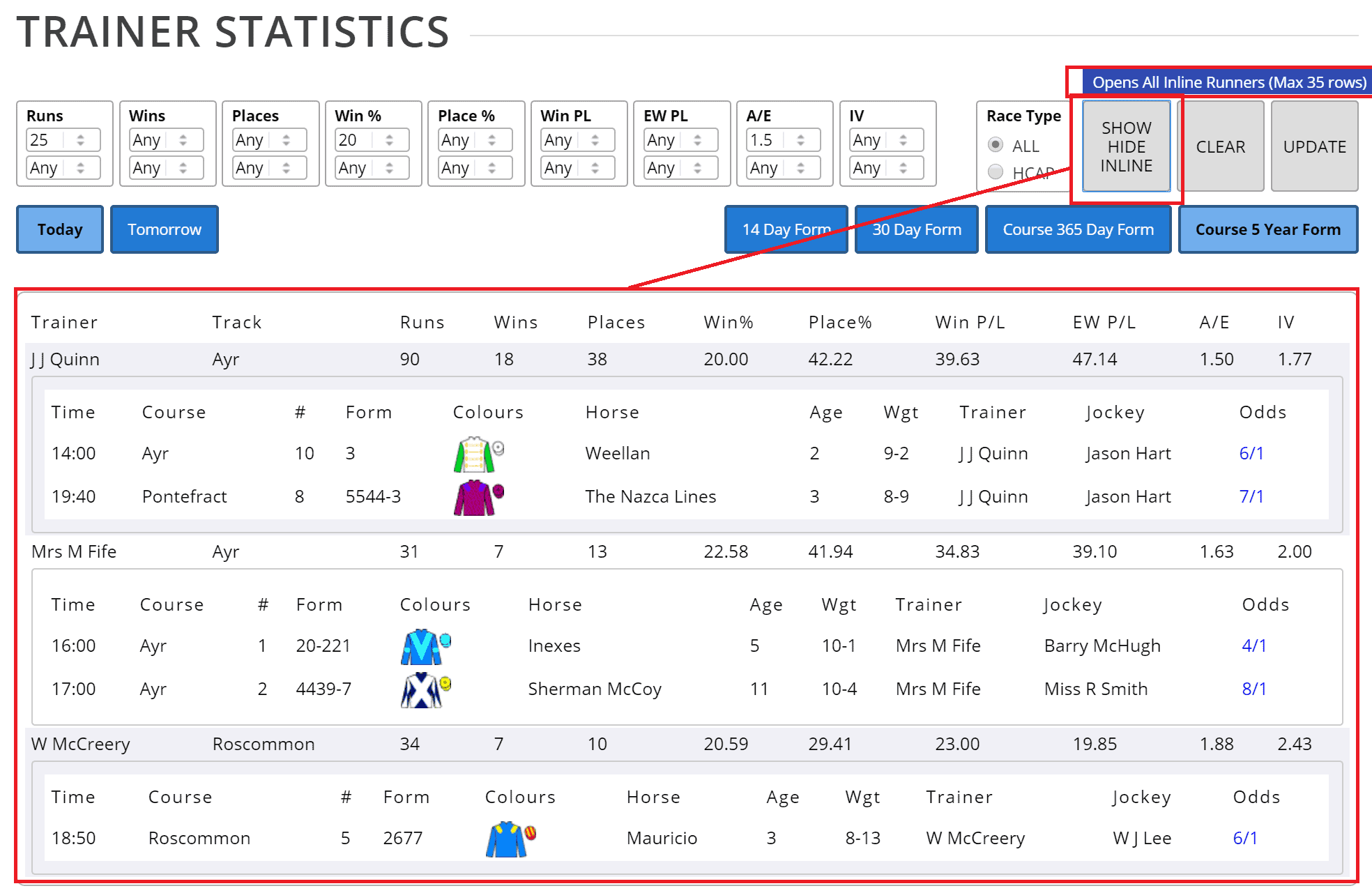 One click reveals/hides all inline content on trainer, jockey, sire reports