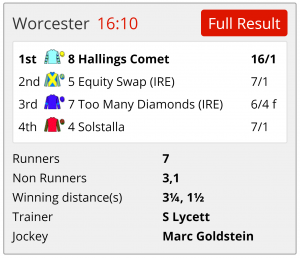 Hallings Comet, available at 33/1, was an easy find on Instant Expert