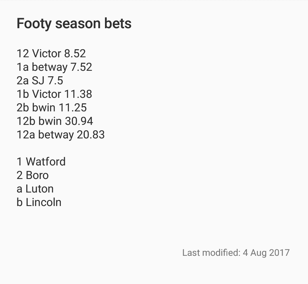 2017/18 Football Season Bets...