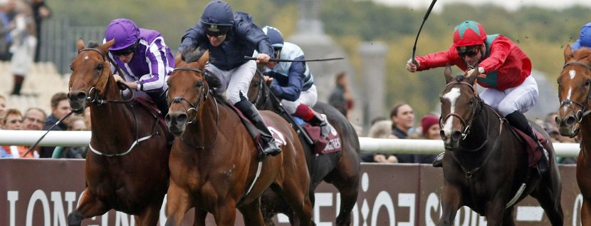 RHODODENDRON (centre, Seamie Heffernan) beats HYDRANGEA (left) in The Prix De L'Opera Chantilly 1 Oct 2017 - Pic Steven Cargill / Racingfotos.com
