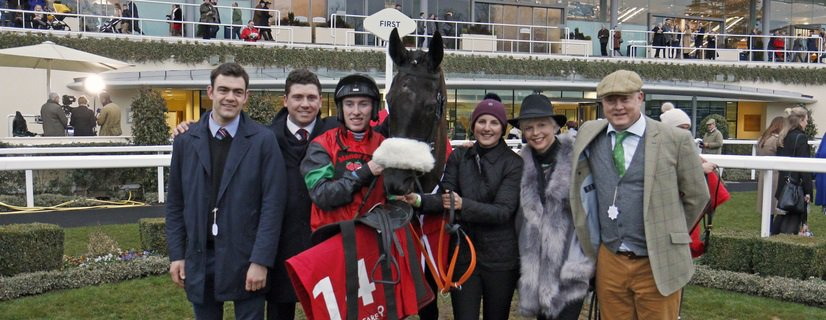 HUNTERS CALL (Jack Kennedy) with trainer Olly Murphy and owners after The Racing Welfare Handicap Hurdle Ascot 23 Dec 2017 - Pic Steven Cargill / Racingfotos.com