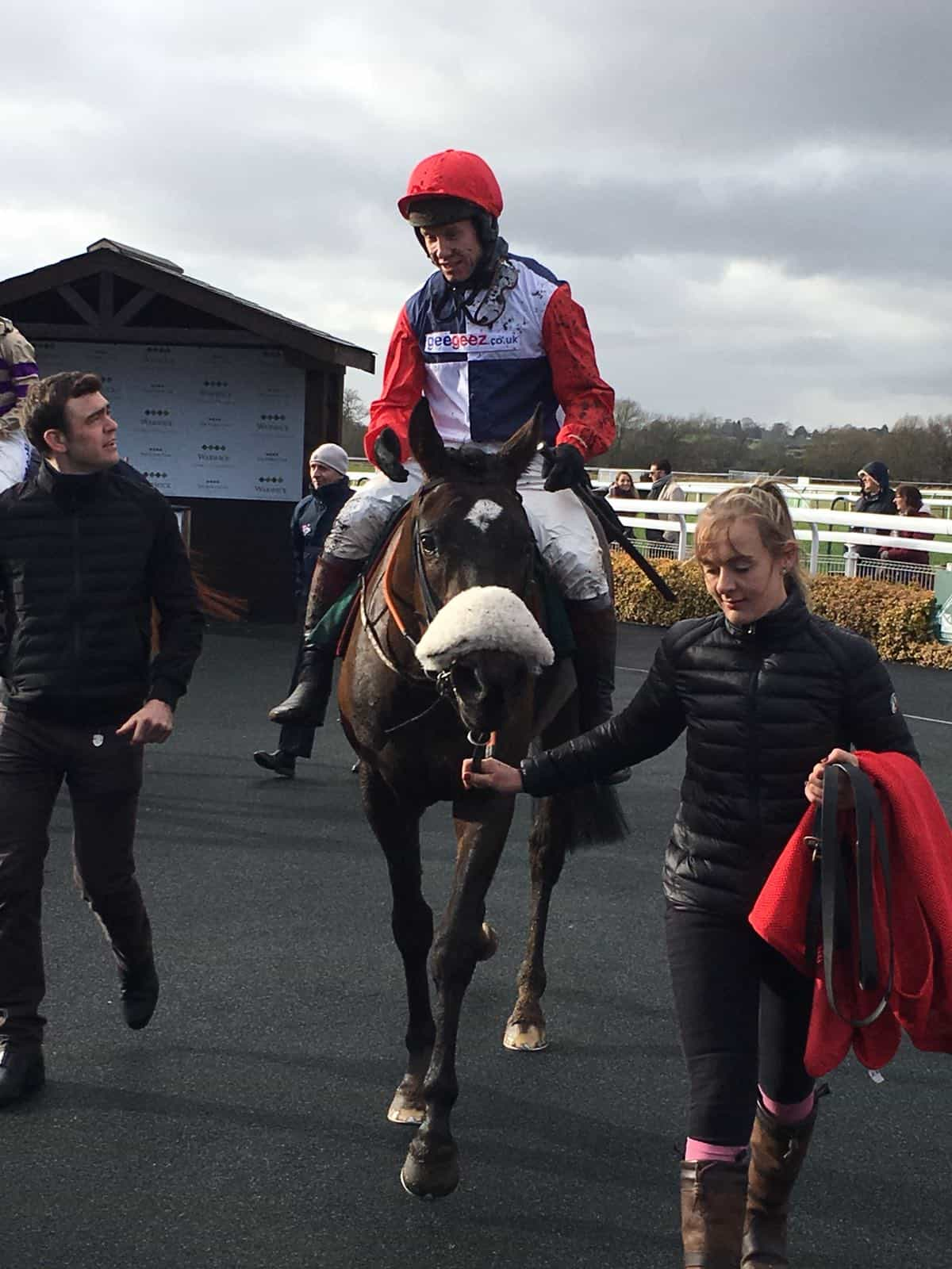 Swaffham Bulbeck is led in after his debut second at Warwick