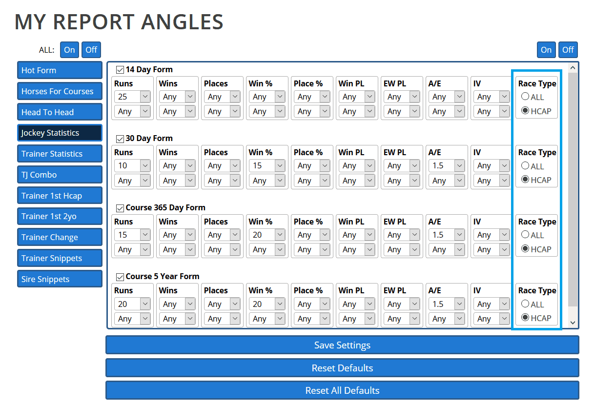 We've added 'Handicap only' filters to Report Angles in line with the individual reports