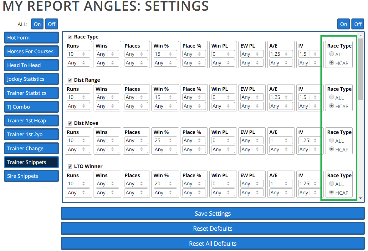 On selected reports, you can now opt to view Angles data for handicaps only, or for all races