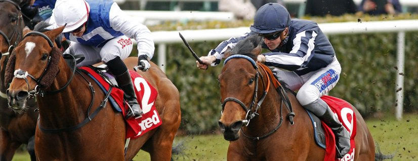 HIGH ACCLAIM (right, David Probert, sponsored by geegeez.co.uk) beats HUMBERT (left) in The 32Red.com Spring Mile Handicap Doncaster 24 Mar 2018 - Pic Steven Cargill / Racingfotos.com