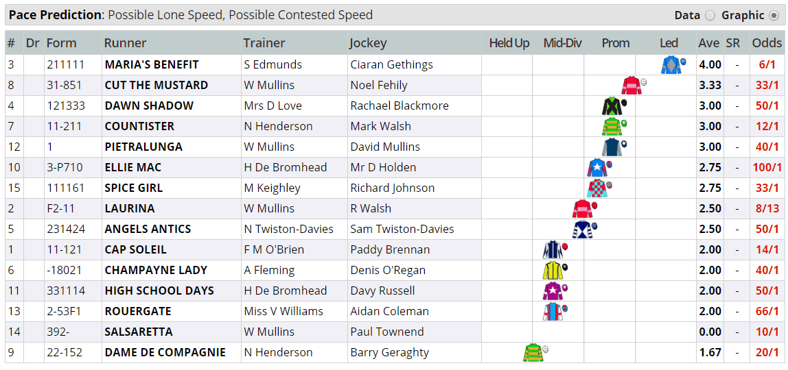 Mares' Novices' Hurdle 2018: Pace Map