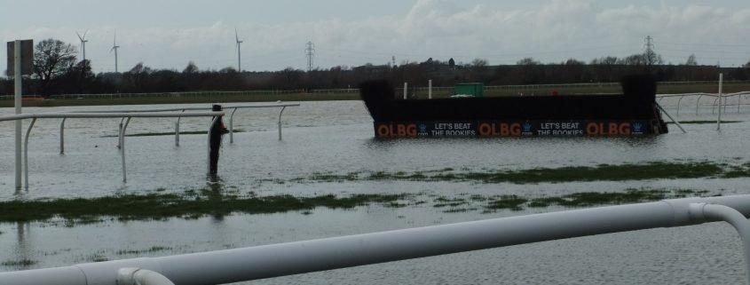 Waterlogging at Huntingdon racecourse, April 2018