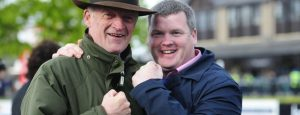 """PUNCHESTOWN 29-4-2017. """"It's all over""""... WILLIE MULLINS is congratulated by GORDON ELLIOTT after Willie won the Trainer's Championship. Photo Healy Racing / Racingfotos.com"""