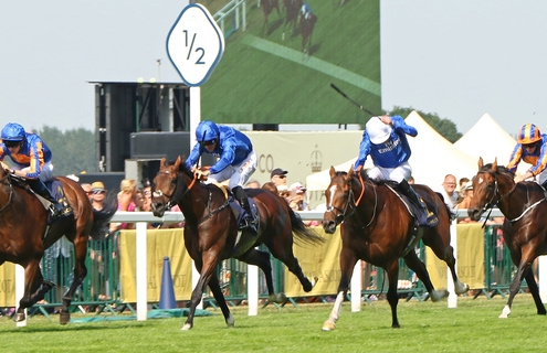 BARNEY ROY (white cap) ridden by James Doyle swoops past Thunder Snow & Lancaster Bomber (left) leaving Churchill (right) behind 1st The St James's Palace Stakes (Group 1) at Royal Ascot 20/6/17 Photo: Ian Headington / Racingfotos.com