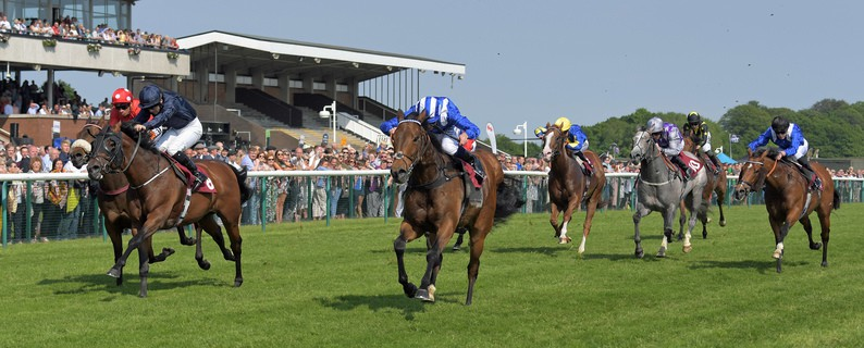 "Centre is BATTAASH with D O'Neill wins from left WASHINGTON DC 2nd in Temple Stakes at Haydock 26-5-18. ""RACINGFOTOS.COM"""