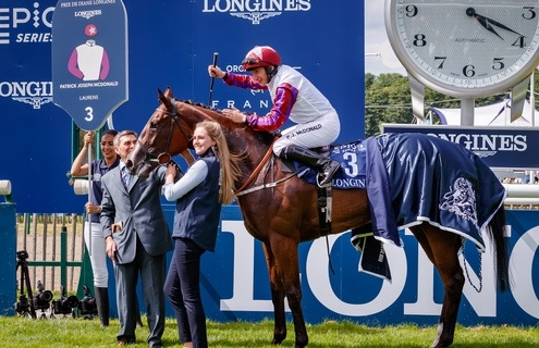 Laurens (PJ McDonald) wins Prix de Diane Longines Gr. 1 in Chantilly, France 17/06/2018, Photo Zuzanna Lupa / Racingfotos.com