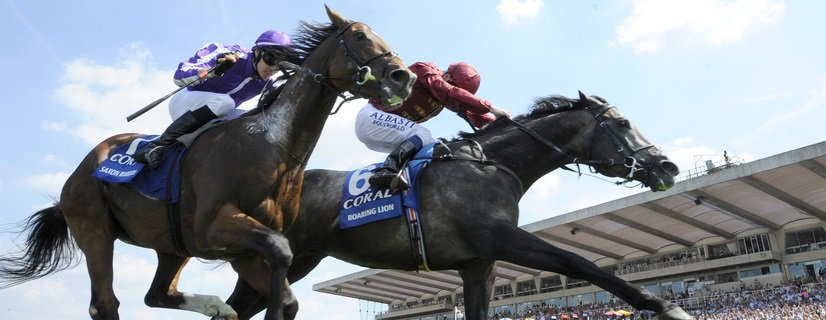 Sandown Park Racecourse 07.07.18 The Coral Eclipse. Roaring Lion ridden by Oisin Murphy (red) wins from Saxon Warrior ridden by Donnacha O'Brien (purple cap). Photo Andy Watts / Racingfotos.com