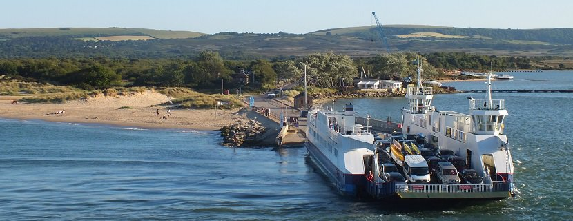 The Sandbanks ferry, a chain ferry that runs between Sandbanks and Studland, across the mouth of Poole Harbour, in Dorset