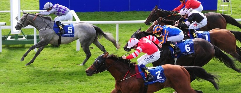 Curragh 16-9-18 HAVANAichard Kingscote win the Group 1 Derrinstown Stud Flying Five Stakes from SON OF REST & Chris Hayes. Photo Healy Racing / Racingfotos.com