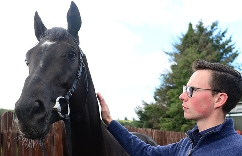 Carriganog Stables 4-9-18. Trainer JOSEPH O'BRIEN pictured with LATROBE ahead of The William Hill St Leger Festival at Doncaster. Photo Healy Racing / Racingfotos.com