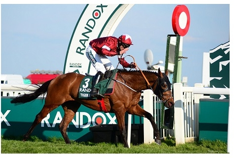 AINTREE 6-4-19. The Randox Health Grand National. TIGER ROLL and Davy Russell passing the line to win for trainer Gordon Elliott. Photo Healy Racing / Racingfotos.com