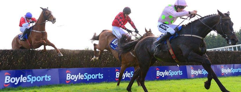 "Fairyhouse 22-4-19 BURROWS SAINT & Ruby Walsh jump the last to win the Boylesports Irish Grand National from stable companions ISLEOFHOPENDREAMS & NACAPELLA BOURGEOIS. Photo Healy Racing/ ""RACINGFOTOS.COM"""