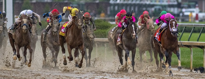 Country House (left, yellow cap), with Flavien Prat up, is placed as the winner of the Grade I Kentucky Derby as Maximum Security, with Luis Saez, is disqualified to 18th position. Churchill Downs in Louisville, Kentucky, USA. May 4, 2019. Photography by Jamie Newell / Racingfotos.com.