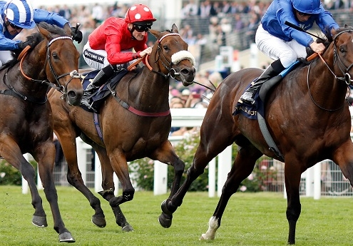 BLUE POINT (right, William Buick) beats BATTAASH (left) and MABS CROSS (centre) in The King's Stand Stakes Royal Ascot 19 Jun 2018 - Pic Steven Cargill / Racingfotos.com
