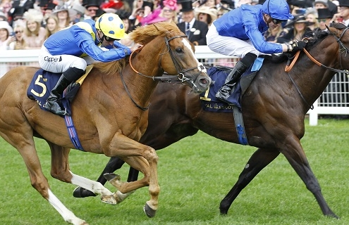 Blue Point and James Doyle just beats Dream Of Dreams in the Commonwealth Cup at Royal Ascot. 22/6/2019 Pic Steve Davies/Racingfotos.com