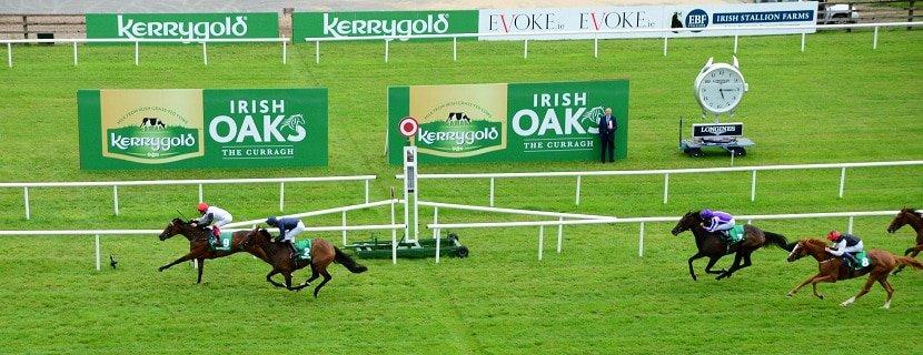 Curragh 20-7-19 STAR CATCHER & Frankie Dettori win the Group 1 Kerrygold Irish Oaks from FLEETING & Donnacha O'Brien. Photo Healy Racing / Racingfotos.com