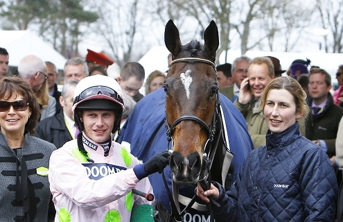Douvan with Paul Townend and trainer Willie Mullins after winning the Doom Bar Maghull Novices' Chase at Aintree. 9/4/2016 Pic Steve Davies/Racingfotos.com