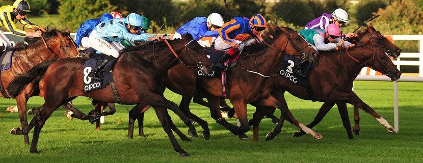 Leopardstown 10-9-16 ALMANZOR & Christophe Soumillon (light blue colours) get the better of FOUND & Frankie Dettori (blue & orange) to win the Group 1 Qipco Irish Champion Stakes.Photo Healy Racing / Racingfotos.com