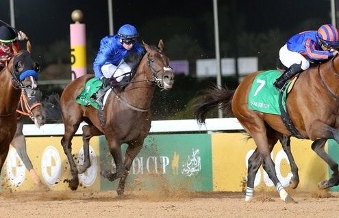 29.02.2020, Riad, Maximum Security (USA) with Luis Saez wins the Saudi Cup at King Abdulaziz racecourse, Riad, Riyadh, SAU. Photo GALOPPFOTO/Racingfotos.com