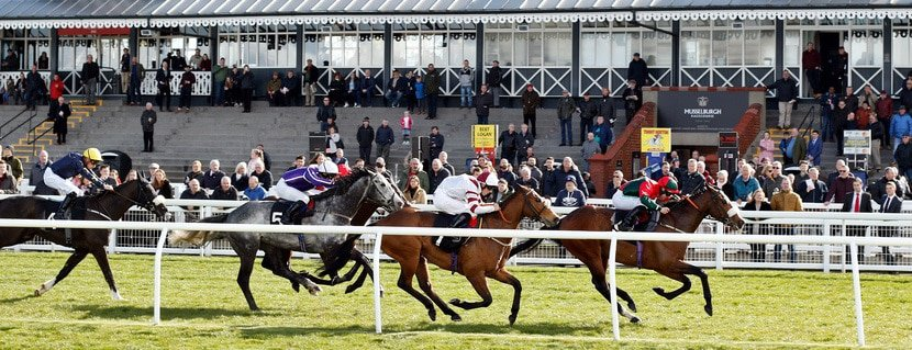 PORTH SWTAN (Jason Hart) beats RASELASAD (2nd right) and HAYADH (5) in The racingtv.com Handicap Musselburgh 2 Apr 2019 - Pic Steven Cargill / Racingfotos.com""