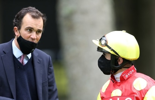 Andrea Atzeni and trainer Tom Clover before Betway Handicap at Haydock Park Racecourse. June 9, 2020. Photo David Davies / Pool Via Racingfotos.com