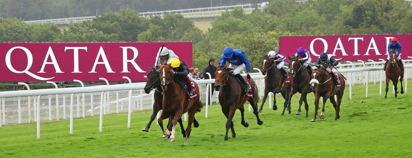 STRADIVARIUS ridden by Frankie Dettori beating Cross Counter (blue) in The Qatar Goodwood Cup Stakes (Group 1) at Glorious Goodwood 30/7/19 Photo Ian Headington / Racingfotos.com