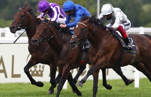 ASCOT, ENGLAND - JUNE 20: Palace Pier ridden by Frankie Dettori (R) wins the St James's Palace Stakes during Day Five of Royal Ascot 2020 at Ascot Racecourse on June 20, 2020 in Ascot, England. 20, 2020 in Ascot, England. Photo Julian Finney / Racingfotos.com