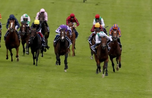Serpentine and Emmet McNamara winning The Investec Derby Epsom 4.7.2020 Photo Dan Abraham / Racingfotos.com