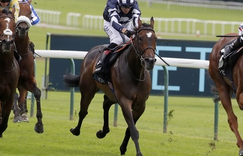 Extra Elusive and Hollie Doyle (right) winning The BetVictor Rose Of Lancaster Stakes Haydock 8.8.2020 Photo Dan Abraham / Racingfotos.com