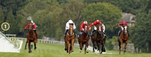 ETONIAN (2nd right, Pat Dobbs) beats APOLLO ONE (2nd left) KING VEGA (right) and DINOO (left) in The Betway Solario Stakes Sandown 23 Aug 2020 - Pic Steven Cargill / Racingfotos.com