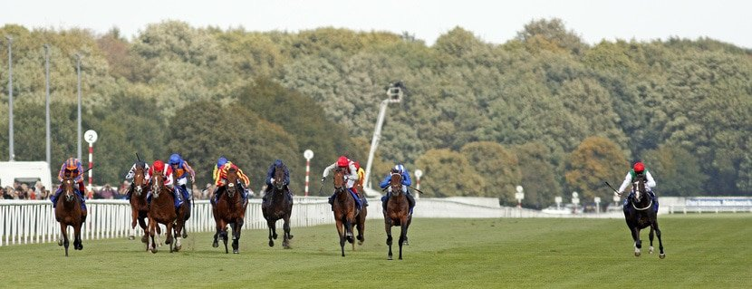 GALILEO CHROME (3rd left, Tom Marquand) beats BERKSHIRE ROCCO (2nd left) and PYLEDRIVER (right) in The Pertemps St Leger Doncaster 12 Sep 2020 - Pic Steven Cargill / Racingfotos.com